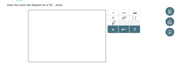Draw The Electron Dot For Na: Solved: Draw The Lewis Dot Diagram For A Na Anion 谲 Ar