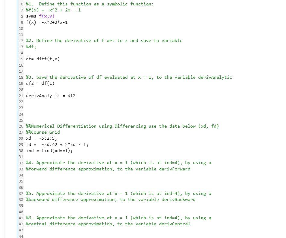 MATLAB How Can I Write The Code For Step 4,5,6        | Chegg com