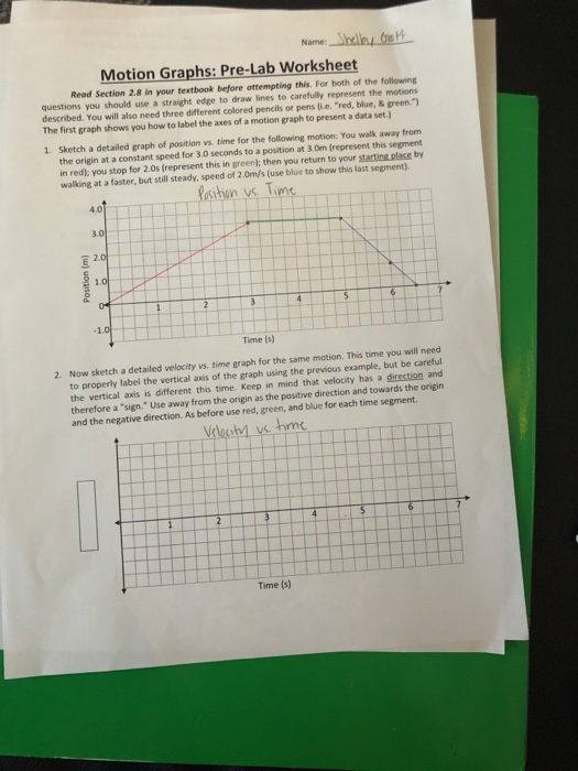 Solved Name Motion Graphs Pre Lab Worksheet Read Sectio