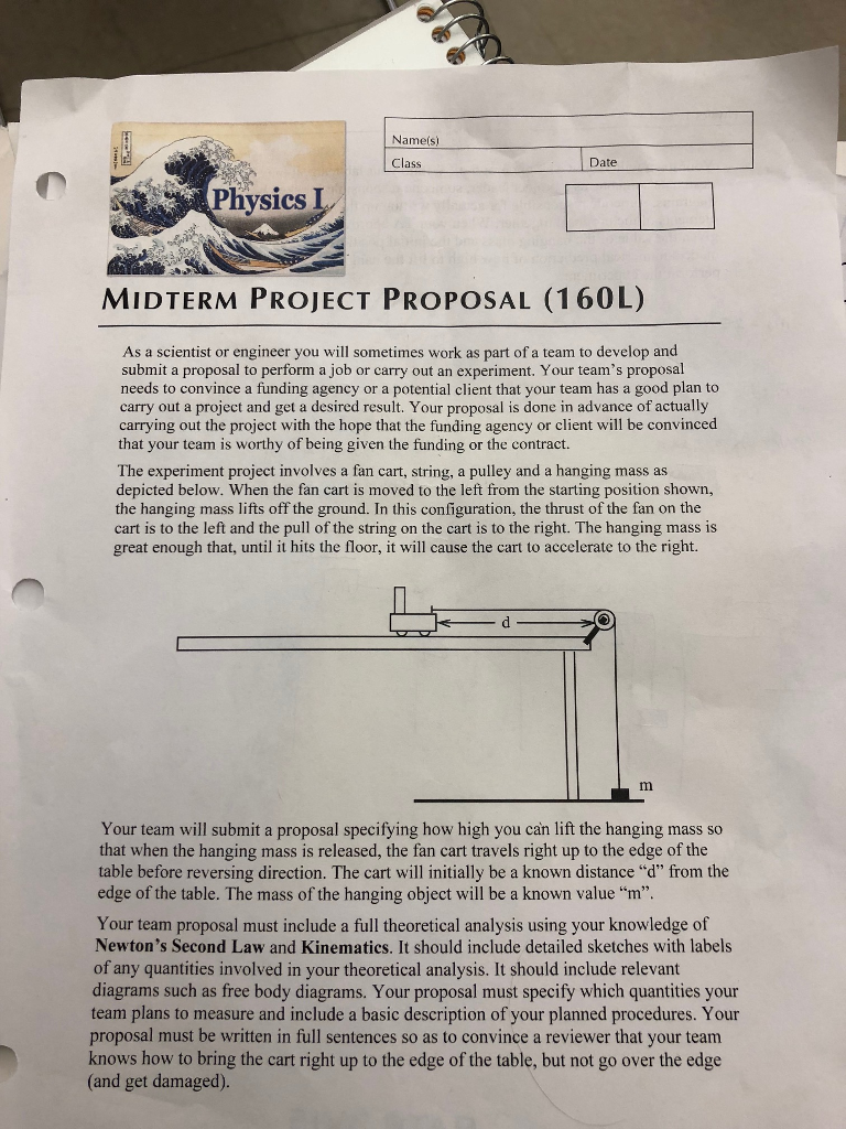 Nameis) Class Date Physics MIDTERM PROJECT PROPOSA    | Chegg com