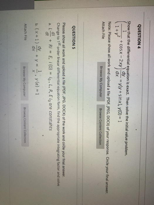 Solved: QUESTION 4 Show That The Differential Equation Is