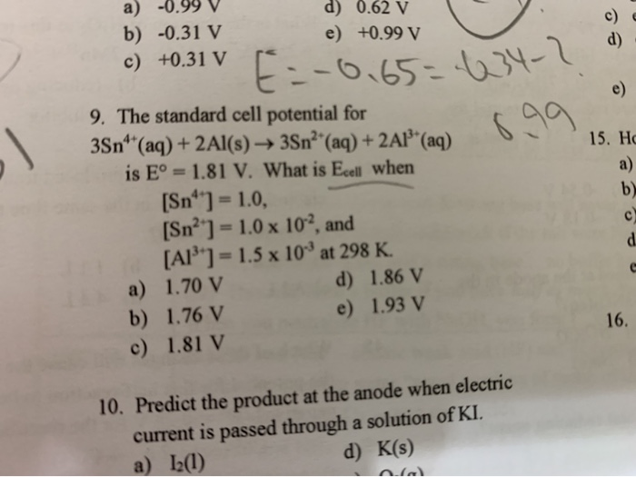 Solved: Ap Chemistry Question 9 Source: South Pasadena  I