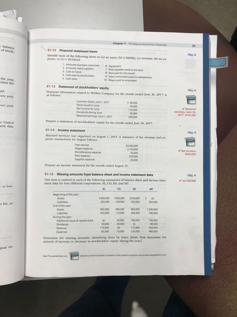 Solved: Chapter 1 The Roln Of Accounting In Business Balan ...