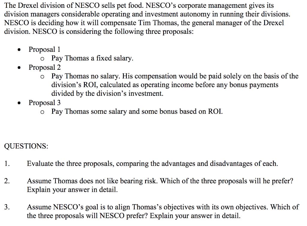 Solved: The Drexel Division Of NESCO Sells Pet Food  NESCO
