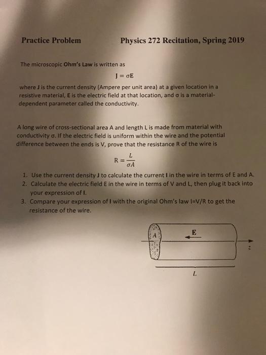 Solved: Practice Problem Physics 272 Recitation, Spring 20