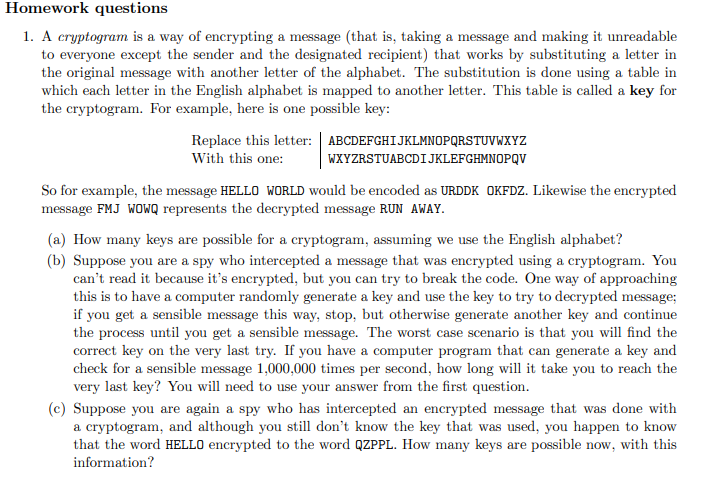 Solved: Homework Questions 1  A Cryptogram Is A Way Of Enc