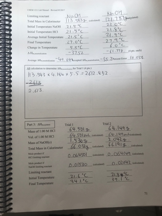 chem 1211 lab manual revised 05 2017 enthalpy of d chegg com rh chegg com  chem 1211 lab manual answers kennesaw