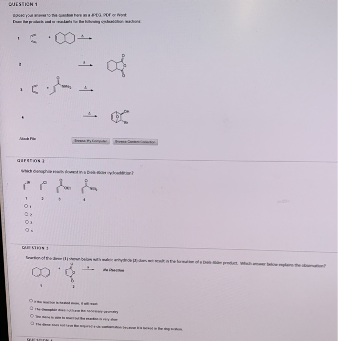 QUESTION 1 Upload your answer to this question here as a JPEG, PDF or Word Draw the products and or reactants for the followi