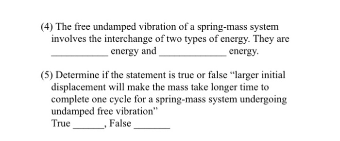 Solved: (4) The Free Undamped Vibration Of A Spring-mass S
