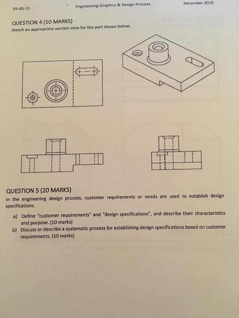 Solved 04 Bs 15 Engineering Graphics Design Process Dec Chegg Com