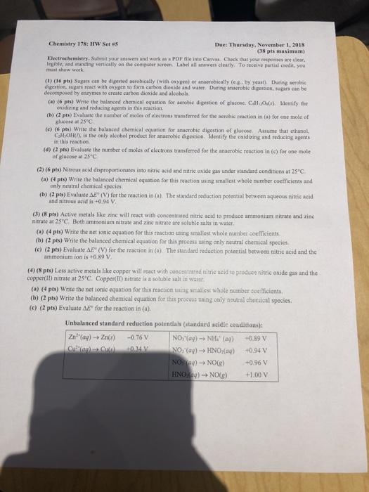 Solved: Chemistry 178: HW Set 5 Due: Thursday, November 1