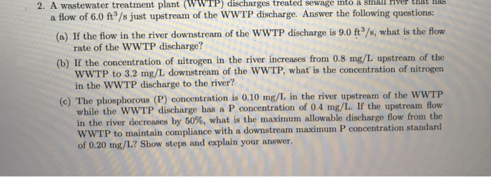 wastewater treatment questions