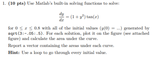 Solved: 1  (10 Pts) Use Matlab's Built-in Solving Function