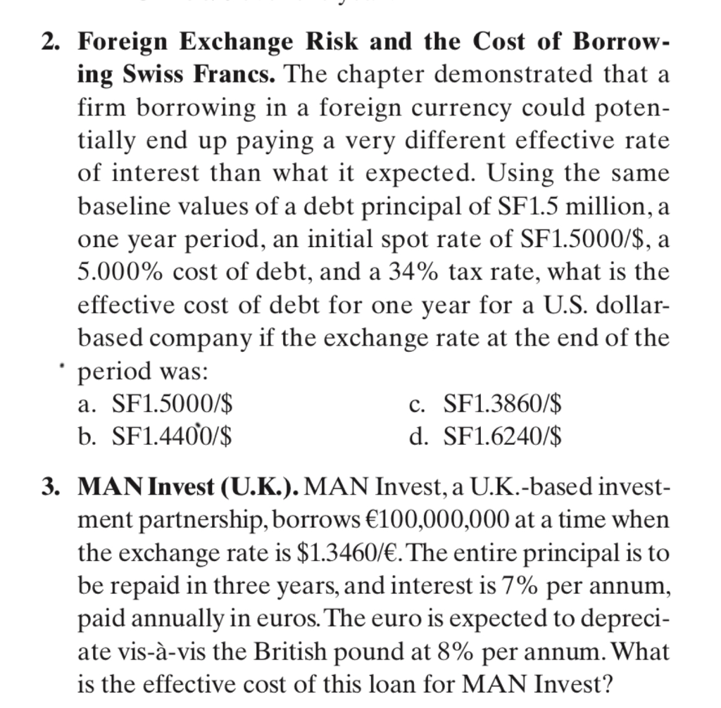 Foreign Exchange Risk And The Cost Of Borrow Ing Swiss Francs