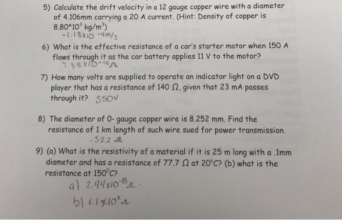 Solved calculate the drift velocity in a 12 gauge copper question calculate the drift velocity in a 12 gauge copper wire with a diameter of 4106mm carrying a 20 a keyboard keysfo Choice Image