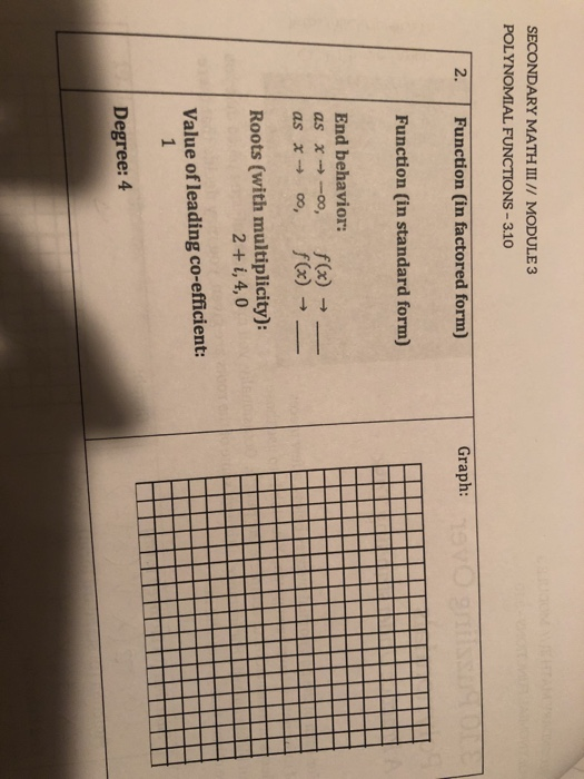 Solved  Secondary Math  U2162      Module 3 Polynomial Functions