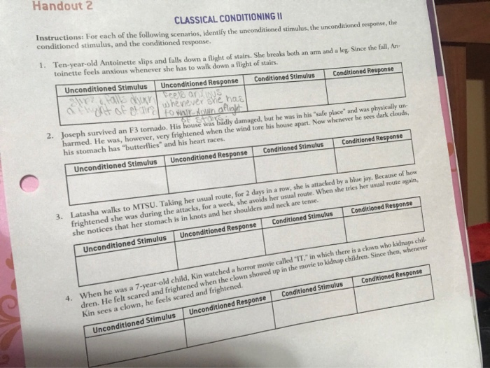 Solved Handout 2 Classical Conditioning Instructions For