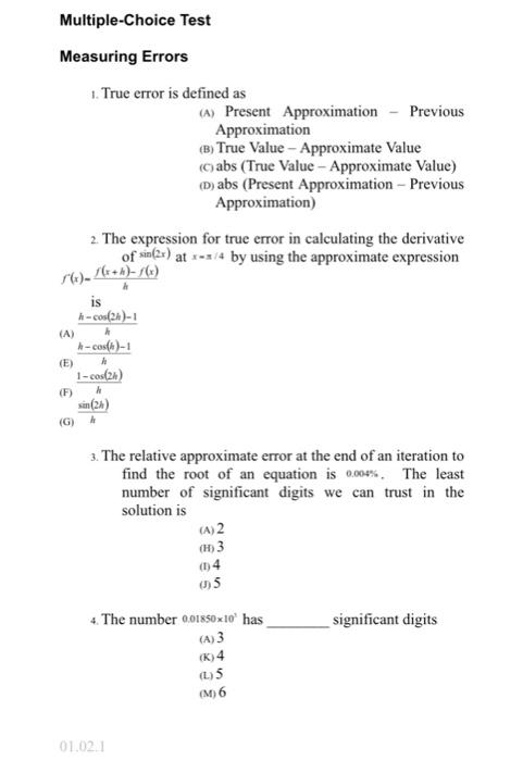 Solved: Multiple-Choice Test Measuring Errors  True Error