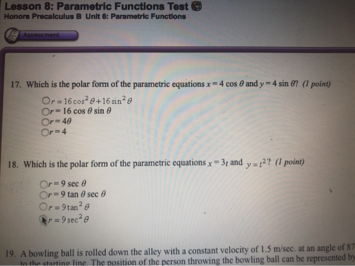 Solved: Which Is The Polar Form Of The Parametric Equation