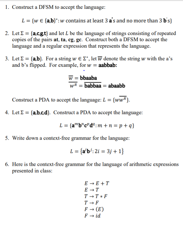 Solved: 1  Construct A DFSM To Accept The Language L {w E