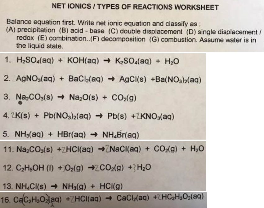 Solved Net Ionics Types Of Reactions Worksheet Balance