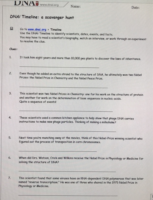 Solved: UINABww.dnal.org Name: Date: DNAi Timeline: A Scav ...