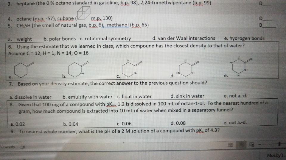 3  Heptane (the 0 % Octane Standard In Gasoline, B      Chegg com