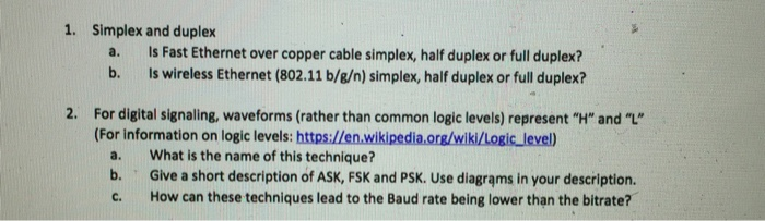 Solved: 1  Simplex And Duplex A  Is Fast Ethernet Over Cop