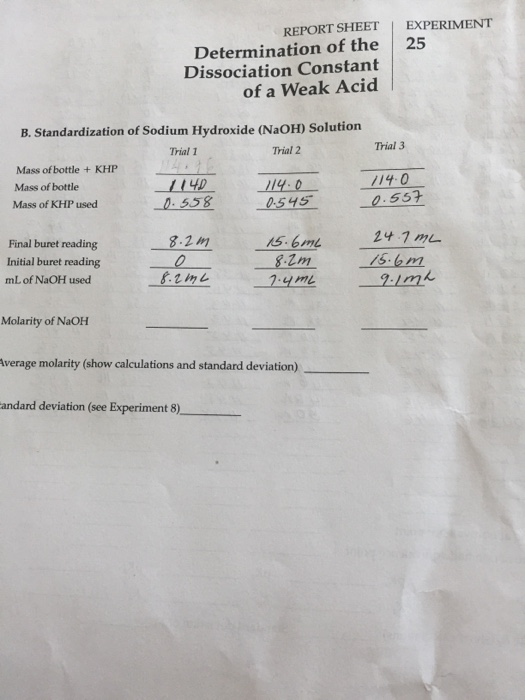 an experiment on the calculation of the dissociation constant for a weak unknown acid Weak acid titration v120413 calculate the ph of a weak acid / strong base titration at in an acid-base titration, a solution of unknown concentration is.