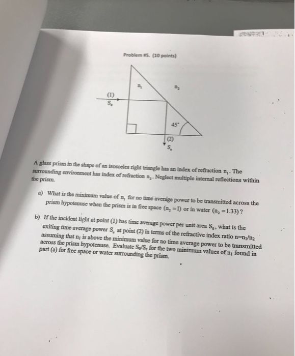 Solved: Problem 5  (10 Points) S, 45* S, A Glass Prism In