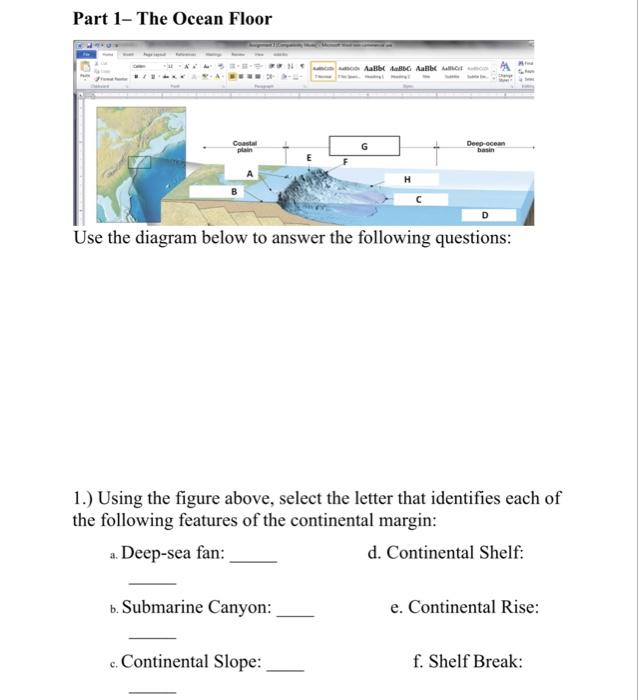 Ocean Floor Use The Diagram Below