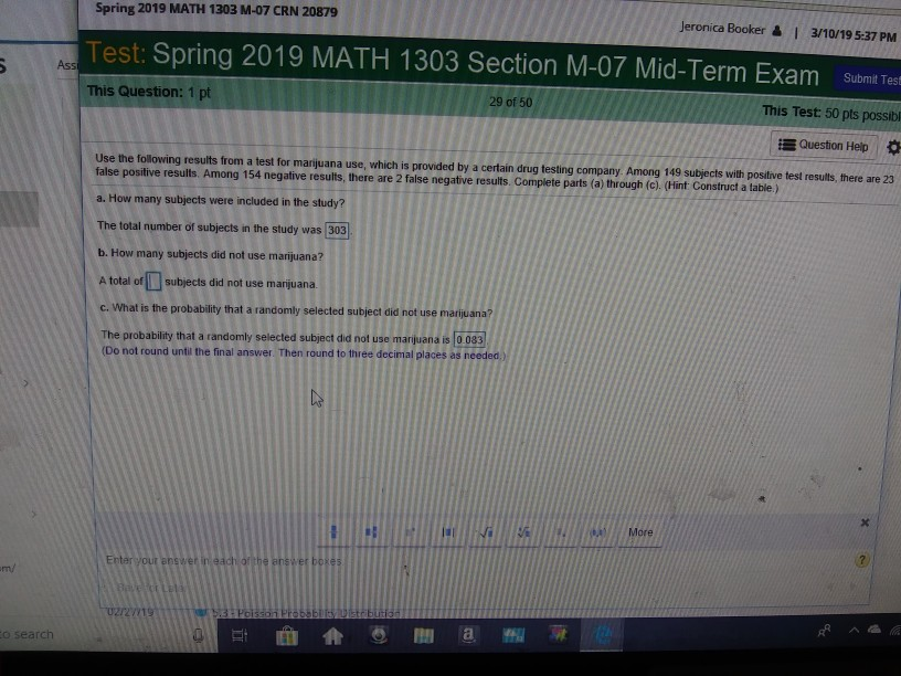 Solved: Spring 2019 MATH 1303 M-07 CRN 20879 Jeronica Book