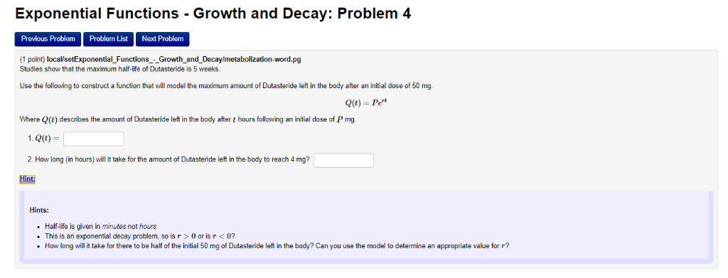 Solved Exponential Functions Growth And Decay Problem Chegg Com