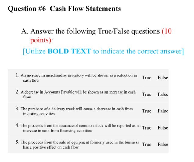Solved Question  Cash Flow Statements A Answer The Fol