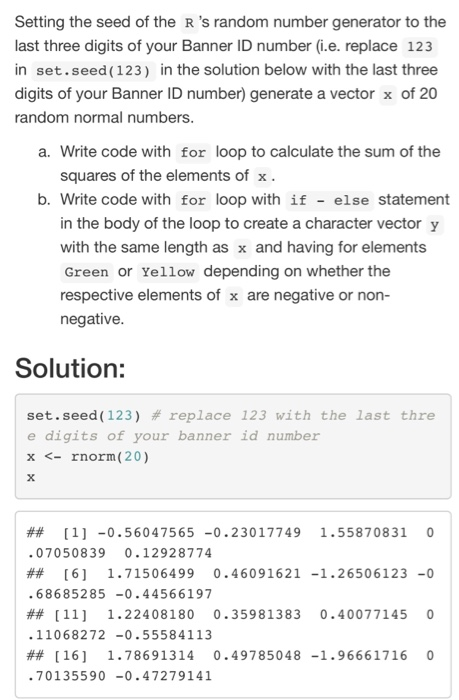 Solved: Setting The Seed Of The R 's Random Number Generat
