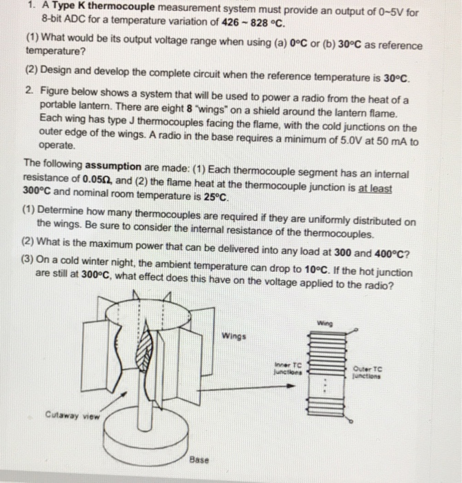 1  A Type K Thermocouple Measurement System Must P    | Chegg com