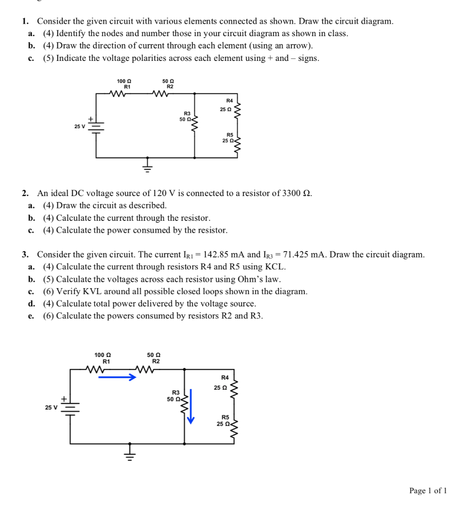 Consider the given circuit with various elements connected as shown. Draw  the circuit