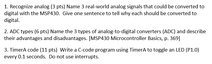 Solved: 1  Recognize Analog (3 Pts) Name 3 Real-world Anal