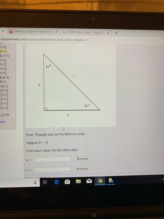 Solved: Mathway | Alge Problem SolX G 0.1943 Miles To F ... on
