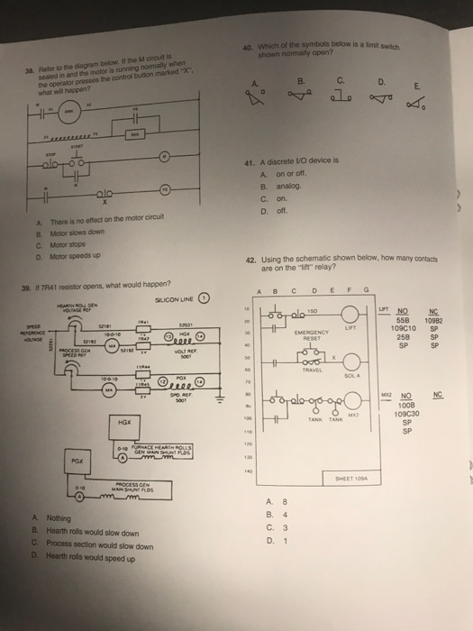 Solved 40 Which Of The Symbols Below Is A Limit Switch S