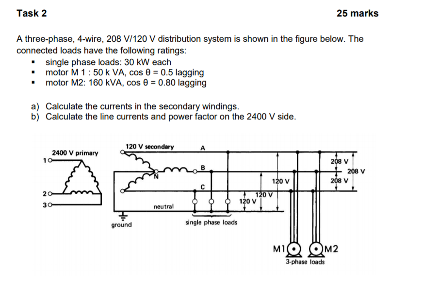 Solved: Task 2 25 Mark:s A Three-phase, 4-wire, 208 V/120 ... on 480 single phase diagram, 220 single phase wiring diagram, wiring 1 phase wiring diagram, 208 volt receptacle diagram, current voltage and phase diagram, 120 240 volt wiring diagram, 240 volt phase diagram, single phase compressor wiring diagram, 208 volt transformer diagram, 240 single phase wiring diagram, 220 3 wire wiring diagram, 240v single phase diagram, 230 vac single phase diagram, 208 volt single phase diagram,