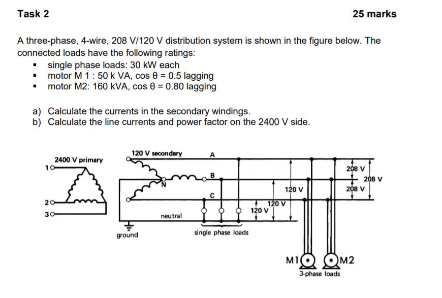 [SCHEMATICS_4UK]  Solved: Task 2 25 Mark:s A Three-phase, 4-wire, 208 V/120 ... | Chegg.com | 208 Single Phase Distribution Wiring Diagram |  | Chegg