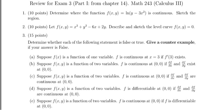 Solved: Review For Exam 3 (Part I: From Chapter 14)  Math