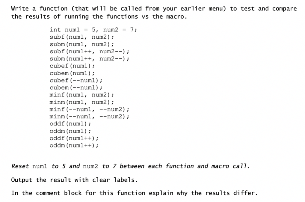 Solved: Macro's Vs  Functions Throw-down Review C Partl pp