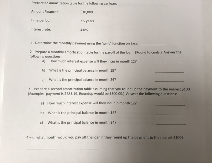 Solved Prepare An Amortization Table For The Following Ca