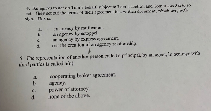 Solved 4 Sal Agrees To Act On Toms Behalf Subject To T