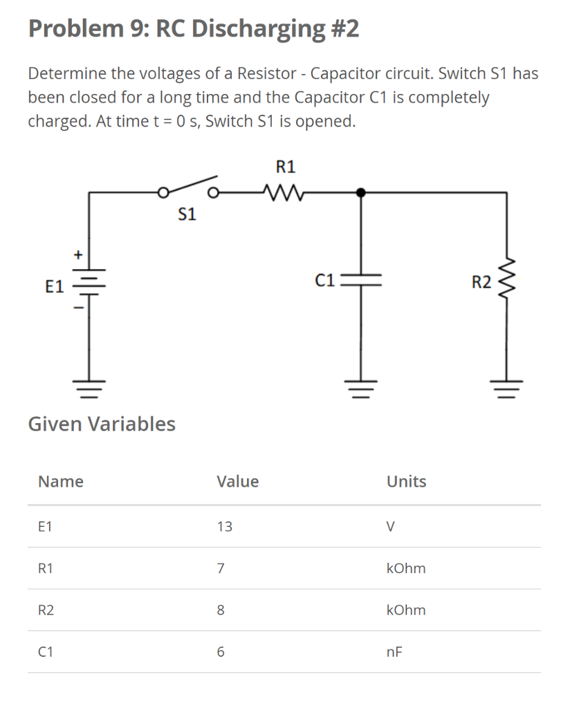 Solved Determine The Voltages Of A Resistor Capacitor C Discharging Circuit Problem 9 Rc 2