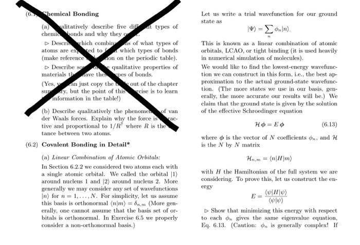 Solved: Hemical Bonding Let Us Write A Trial Wavefunction