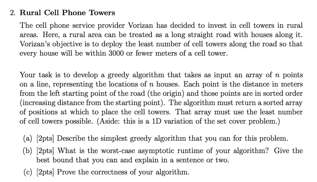 Solved: 2  Rural Cell Phone Towers The Cell Phone Service