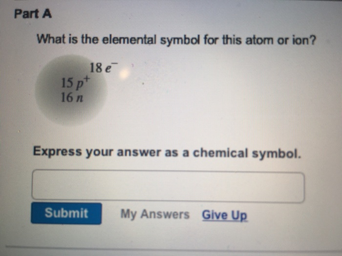 Solved Part A What Is The Elemental Symbol For This Atom